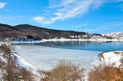 Sheet of ice on Lake Campotosto Stock Image