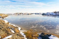 Sheet of ice with white scratches at bay Stock Photo
