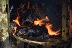 Sheet iron antique turkish samovar to boil on nature, vertical photo. Turkey royalty free stock photos