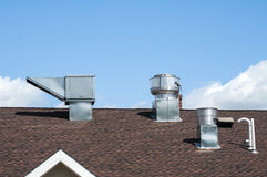 Sheet metal air ducts on rooftop Stock Image