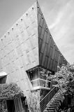Sheet Metal Architecture in Berlin, Germany. Monochrome low angle view of Postgraduate Training Center of the Free University of Berlin, Germany against sky Stock Photo
