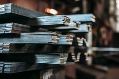 Sheet metal bending in factory royalty free stock photography