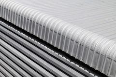 Metal sheet closeup roofing of Building industry big size, Heat insulation material texture for reflection sun radiation and prote. Sheet metal closeup roofing stock photography