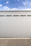 Sheet metal, corrugated wall building Royalty Free Stock Images