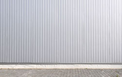 Sheet metal, corrugated wall building Royalty Free Stock Image