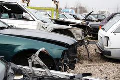 Only sheet metal parts on the car. Scrap yard for car recycling Royalty Free Stock Photos