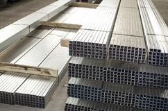 Sheet metal profiles. In production hall Stock Photos