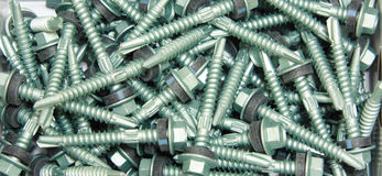 Sheet Metal Roofing Screw. Zinc Plated Sheet Metal Roofing Screw Royalty Free Stock Images