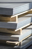 Sheet metal on wood palettes Royalty Free Stock Photography
