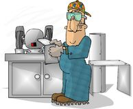 Sheet Metal Worker. This illustration that I created depicts a man using a bench grinder Stock Image