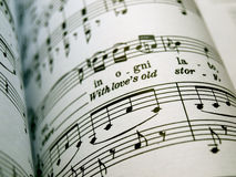Sheet music. Close-up of a sheet music with the focus on the foreground Royalty Free Stock Photography