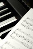 Sheet Music. On piano keys Stock Photos