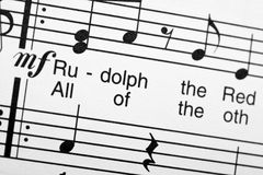 Sheet music. Rudolph the Red Nosed Reindeer Royalty Free Stock Photo