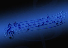 Sheet of Music. Single notes on a sheet of music in front of a dark blue background Royalty Free Stock Photography