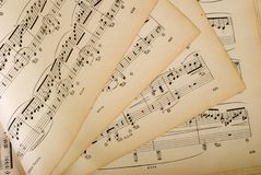 Sheet music. Picture of old sheet music with Chopin's works. Published in 1900 - copyright in public domain Royalty Free Stock Photos