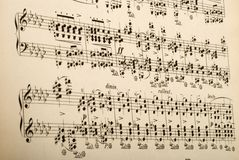 Sheet music. Picture of old sheet music with Chopin's works. Published in 1900 - copyright in public domain Royalty Free Stock Images