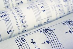 Sheet music. Old rolled-up music Royalty Free Stock Photo