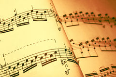 Sheet music in a brown tone Stock Images