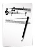 Sheet music draft. With pen Stock Photography