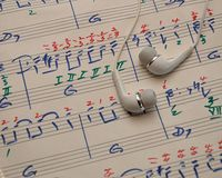 Sheet of music with earphones royalty free stock image