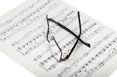 Sheet Music And Glasses Stock Images