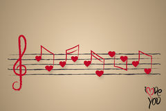 Sheet music with heart shaped musical notes Royalty Free Stock Photos