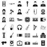 Sheet music icons set, simple style. Sheet music icons set. Simple set of 36 sheet music vector icons for web isolated on white background Stock Photo