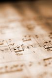 Sheet Music In Sepia Tone Royalty Free Stock Photography