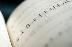 Sheet music note. Closeup Sheet music note and chord stock photo
