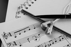 Sheet music with a number of accessories Royalty Free Stock Photo