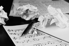 Sheet music with a number of accessories Royalty Free Stock Photos