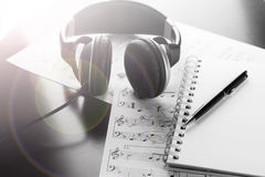 Sheet music with a number of accessories Royalty Free Stock Image