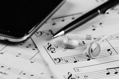 Sheet music with a number of accessories Stock Photography