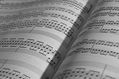 Sheet music. An old music sheet - focus on foreground Stock Photos