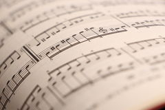 Sheet music 2. An old music sheet - focus on foreground Stock Photography