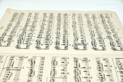 Sheet music. Old sheet music with notes royalty free stock photography