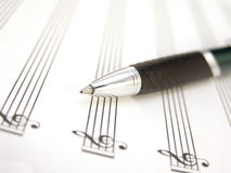 Sheet music with pen Stock Photography