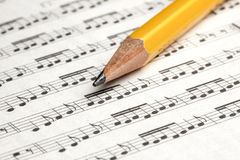 Sheet Music Pencil Notes Closeup Stock Image