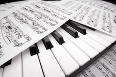 Sheet music on a piano Stock Image