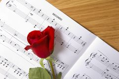 Sheet Music with Rose. Piano stock images