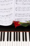 Sheet Music with Rose on piano Royalty Free Stock Image