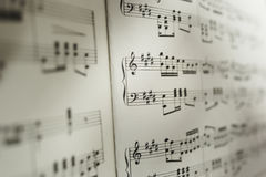 Sheet of musical notes. A sheet of notation with an extremely short depth-of field Royalty Free Stock Photography
