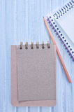 Sheet for note. Notepad and pen on a table Royalty Free Stock Images
