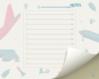 Sheet of notebook. Aviation Royalty Free Stock Photography