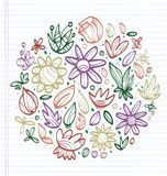 Sheet of notebook with drafts of colorful drawings of leaves and flowers. All to make children happy Stock Photography