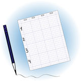 Sheet of notebook and pencil Royalty Free Stock Image
