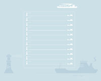 Sheet of notebook. Ship and lighthouse Stock Photos