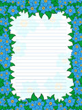Sheet of notepad with floral frame in blue hues Stock Images