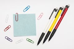Sheet for notes. And stationery  on white background Stock Images