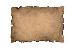 Sheet Of Burnt, Vintage Paper Isolated On A White Background Royalty Free Stock Photo